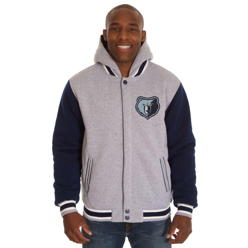 JH DESIGN Men's NBA Memphis Grizzlies Reversible Fleece Hooded Jacket S