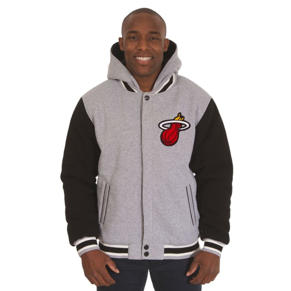 JH DESIGN Men's NBA Miami Heat Reversible Fleece Hooded Jacket - GREY BLACK