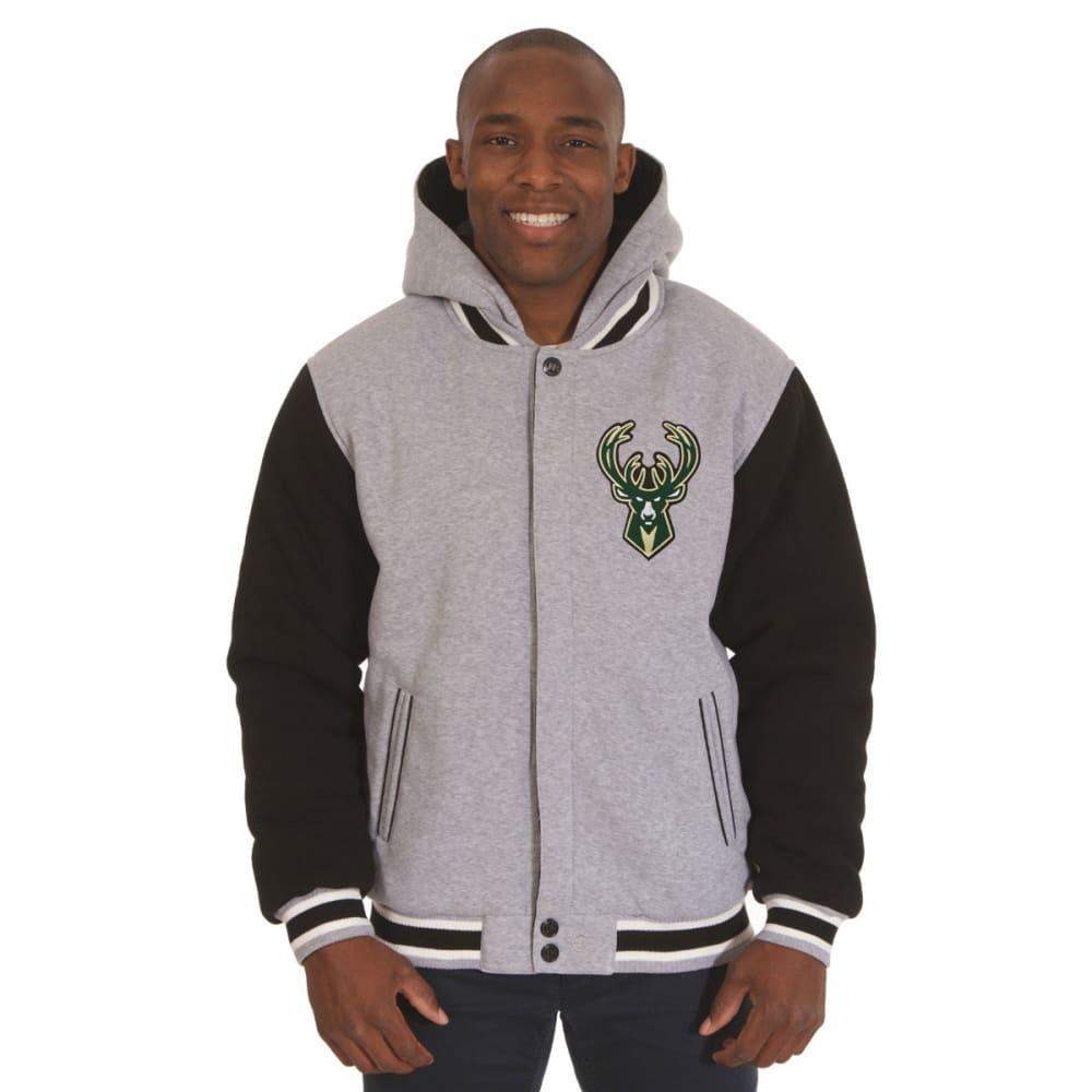 JH DESIGN Men's NBA Milwaukee Bucks Reversible Fleece Hooded Jacket - GREY BLACK