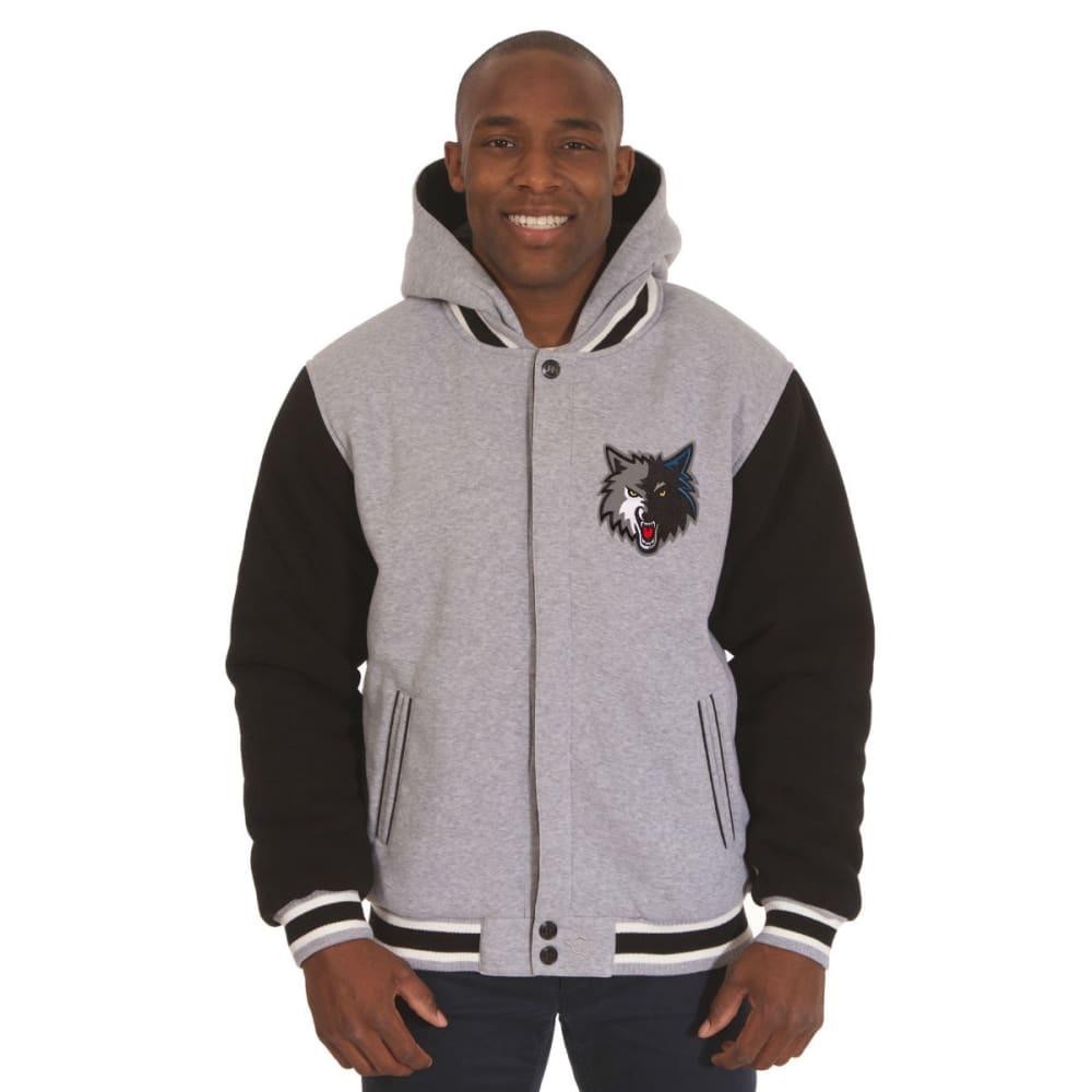 JH DESIGN Men's NBA Minnesota Timberwolves Reversible Fleece Hooded Jacket - GREY BLACK