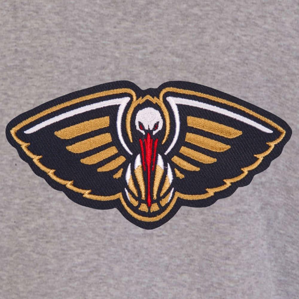 JH DESIGN Men's NBA New Orleans Pelicans Reversible Fleece Hooded Jacket - GREY NAVY