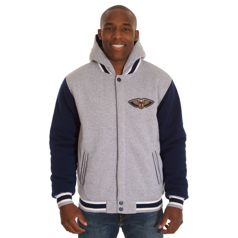 JH DESIGN Men's NBA New Orleans Pelicans Reversible Fleece Hooded Jacket - GREY NAVY