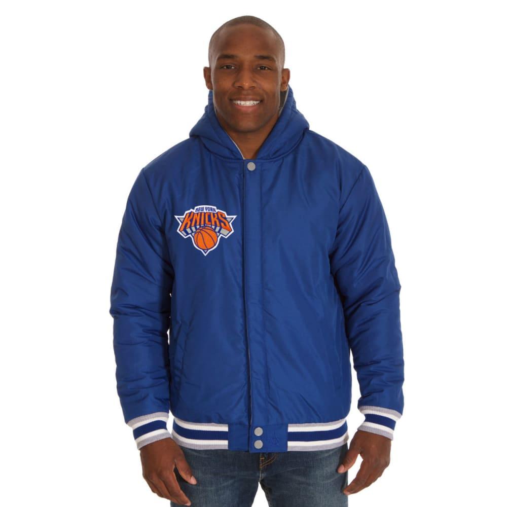 JH DESIGN Men's NBA New York Knicks Reversible Fleece Hooded Jacket - GREY ROYAL
