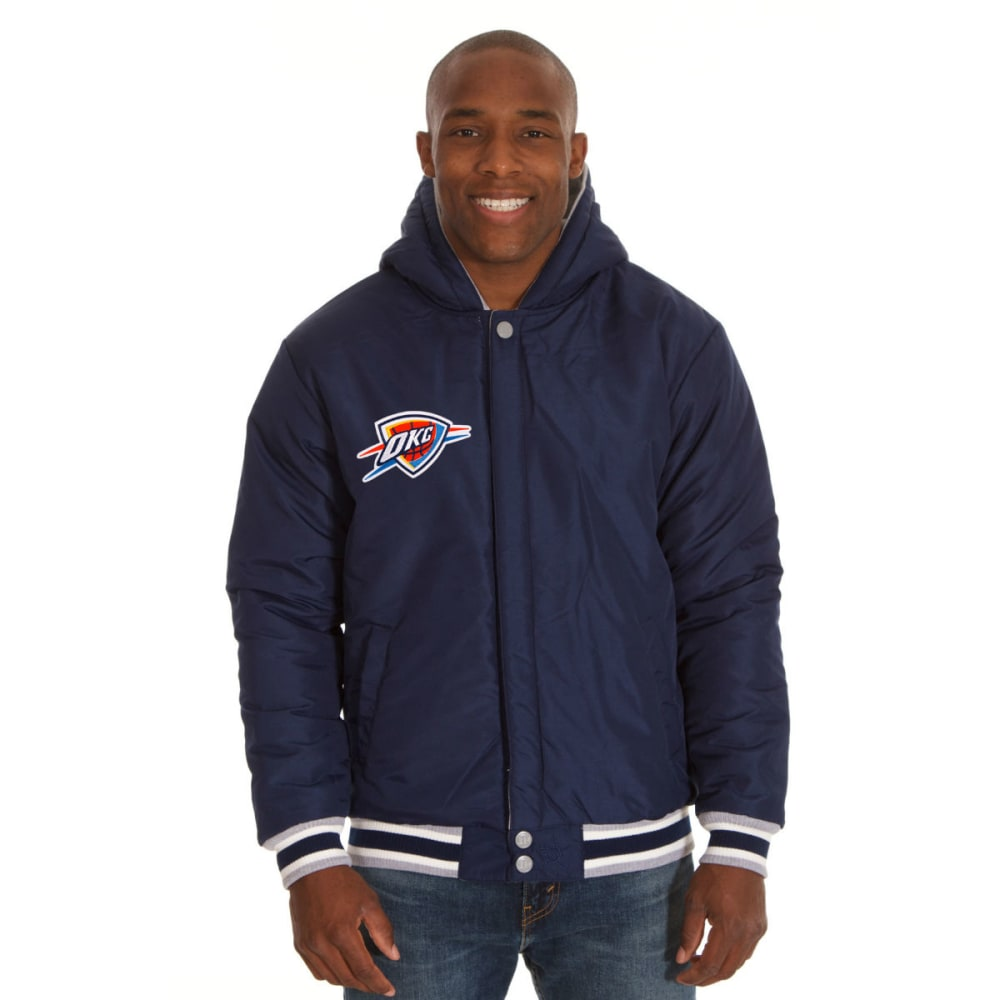 JH DESIGN Men's NBA Oklahoma City Thunder Reversible Fleece Hooded Jacket - GREY NAVY