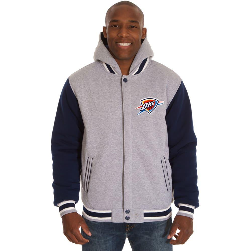 JH DESIGN Men's NBA Oklahoma City Thunder Reversible Fleece Hooded Jacket - GREY NAVY