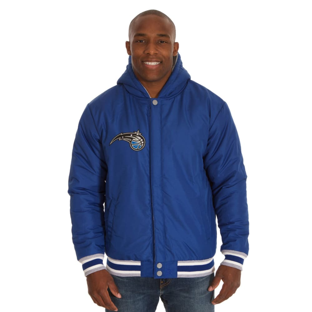 JH DESIGN Men's NBA Orlando Magic Reversible Fleece Hooded Jacket - GREY ROYAL