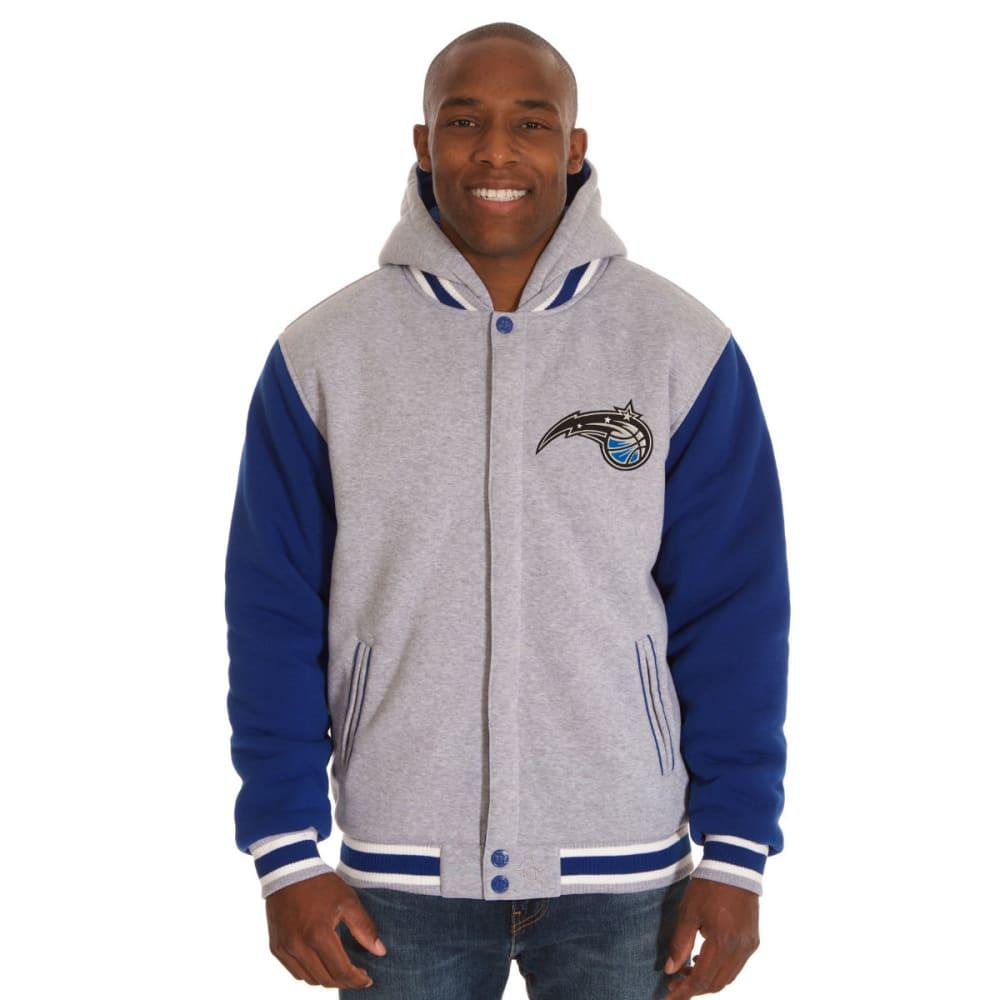 JH DESIGN Men's NBA Orlando Magic Reversible Fleece Hooded Jacket - GREY ROYAL