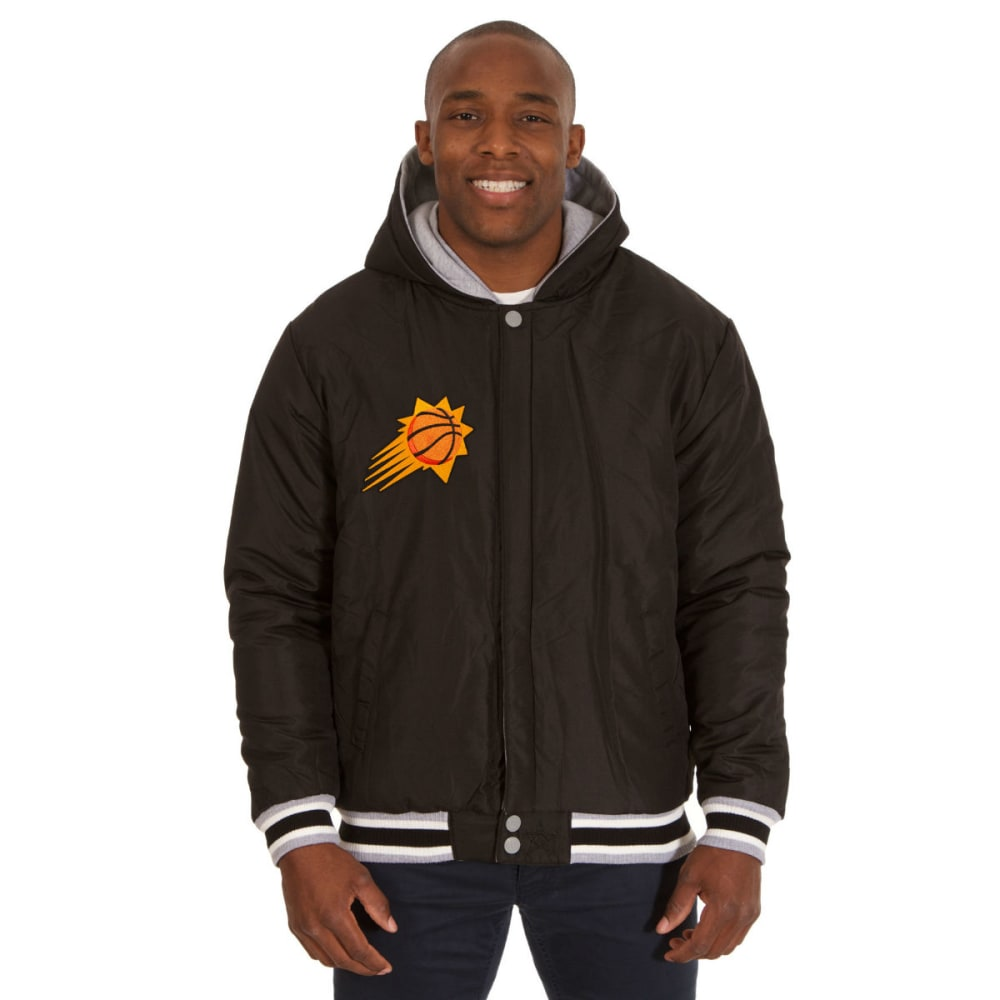 JH DESIGN Men's NBA Phoenix Suns Reversible Fleece Hooded Jacket - GREY BLACK