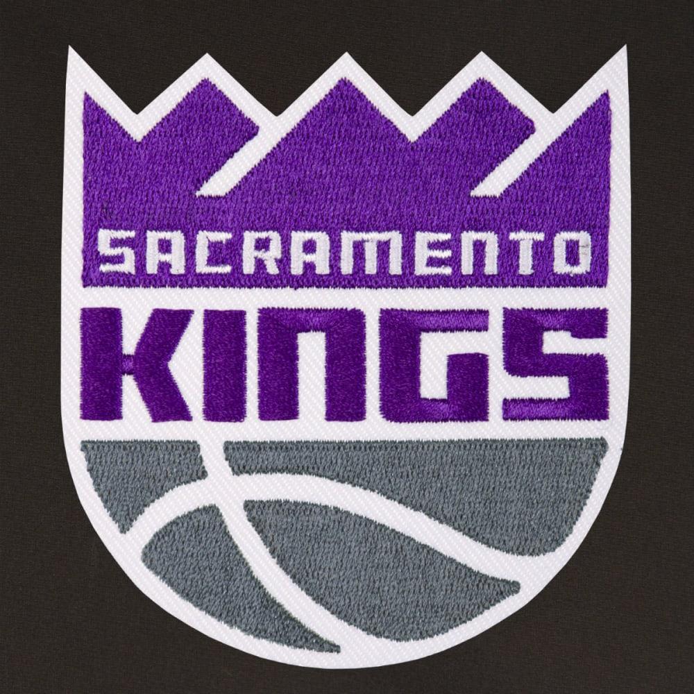 JH DESIGN Men's NBA Sacramento Kings Reversible Fleece Hooded Jacket - GREY BLACK