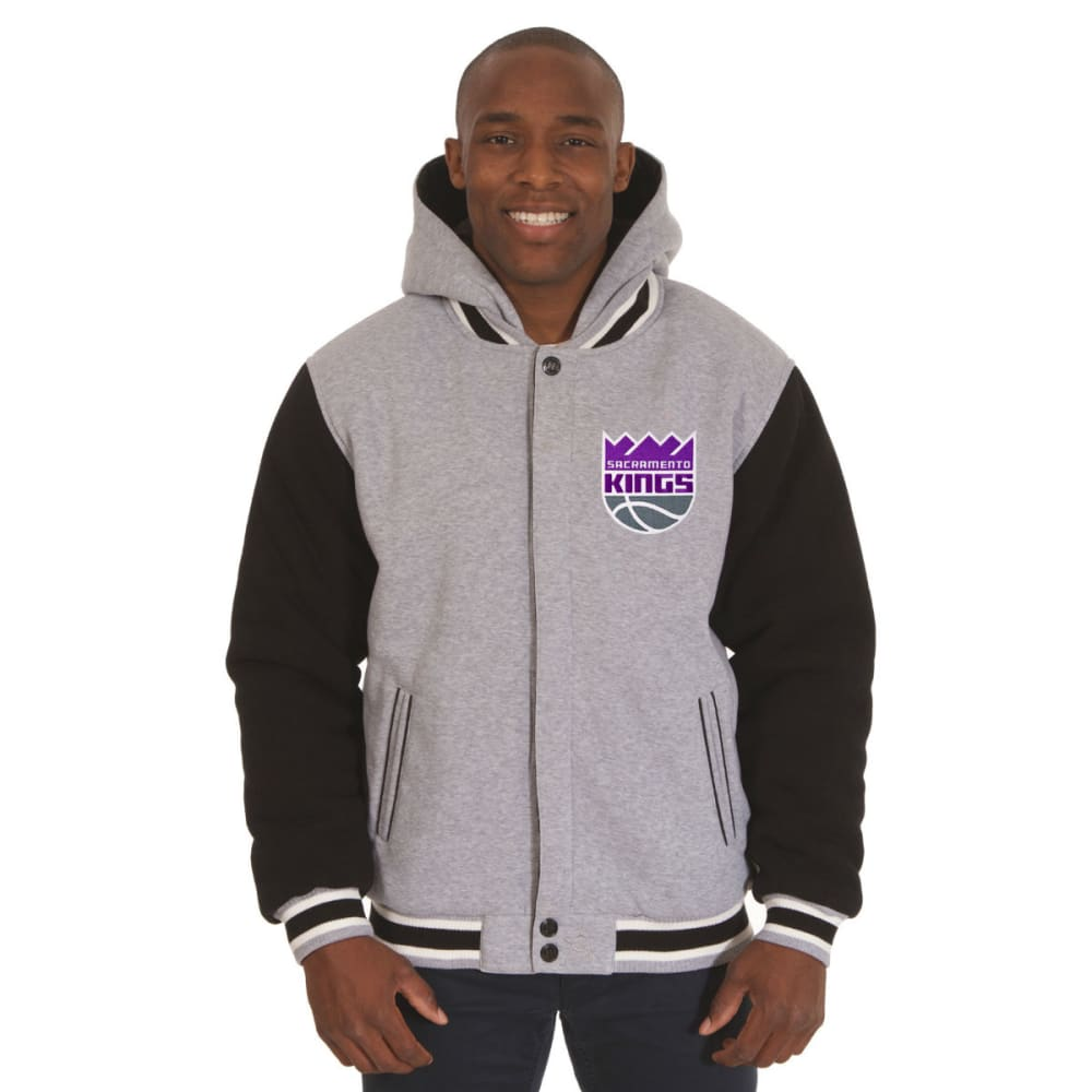 JH DESIGN Men's NBA Sacramento Kings Reversible Fleece Hooded Jacket - GREY BLACK