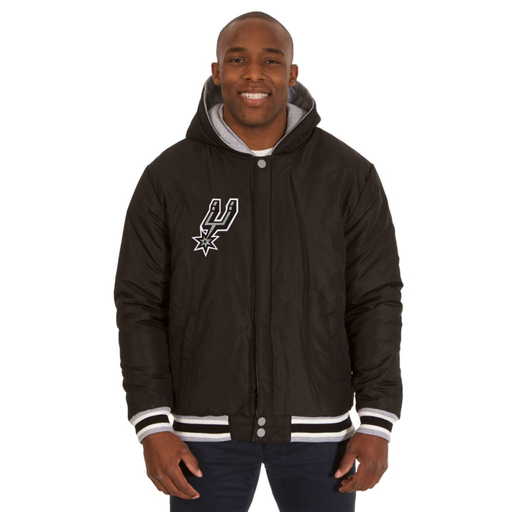 JH DESIGN Men's NBA San Antonio Spurs Reversible Fleece Hooded Jacket - GREY BLACK