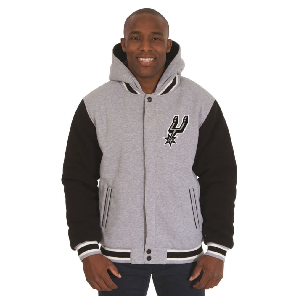 JH DESIGN Men's NBA San Antonio Spurs Reversible Fleece Hooded Jacket - GREY BLACK