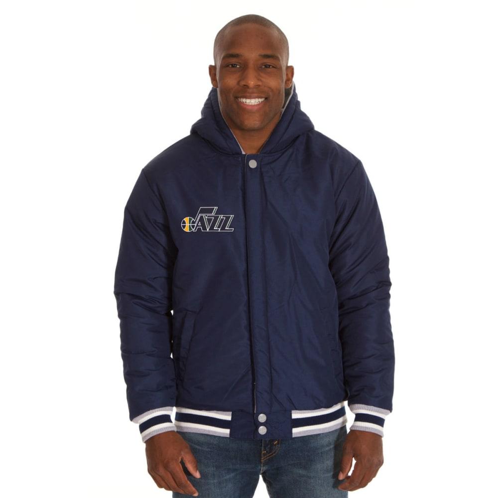 JH DESIGN Men's NBA Utah Jazz Reversible Fleece Hooded Jacket - GREY NAVY