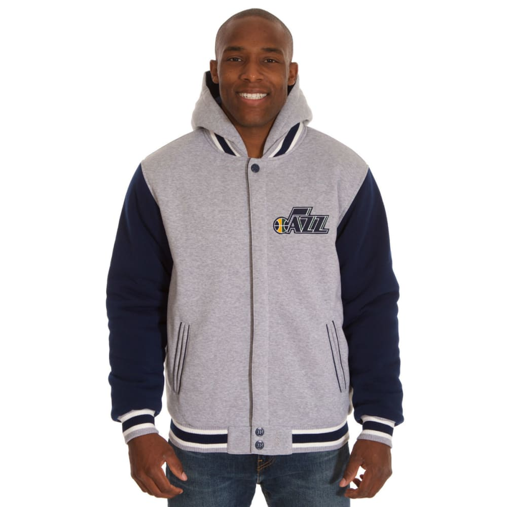 JH DESIGN Men's NBA Utah Jazz Reversible Fleece Hooded Jacket - GREY NAVY