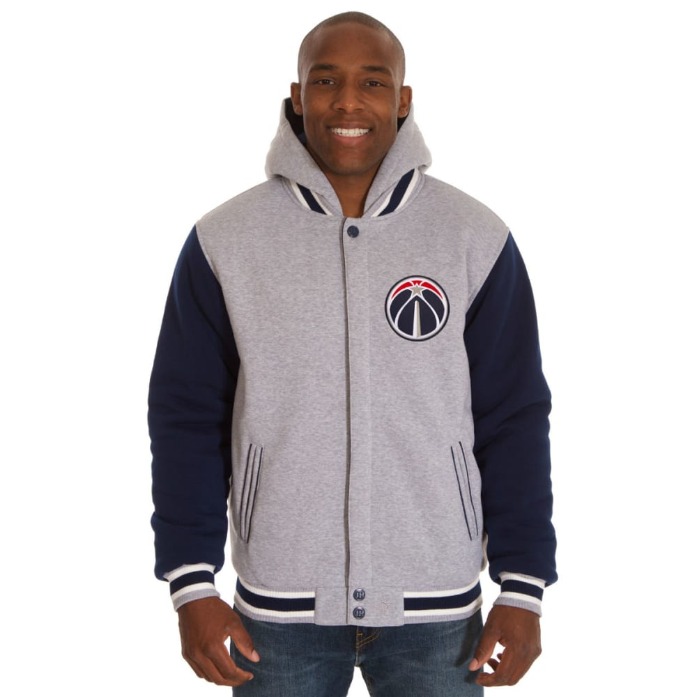 JH DESIGN Men's NBA Washington Wizards Reversible Fleece Hooded Jacket - GREY NAVY