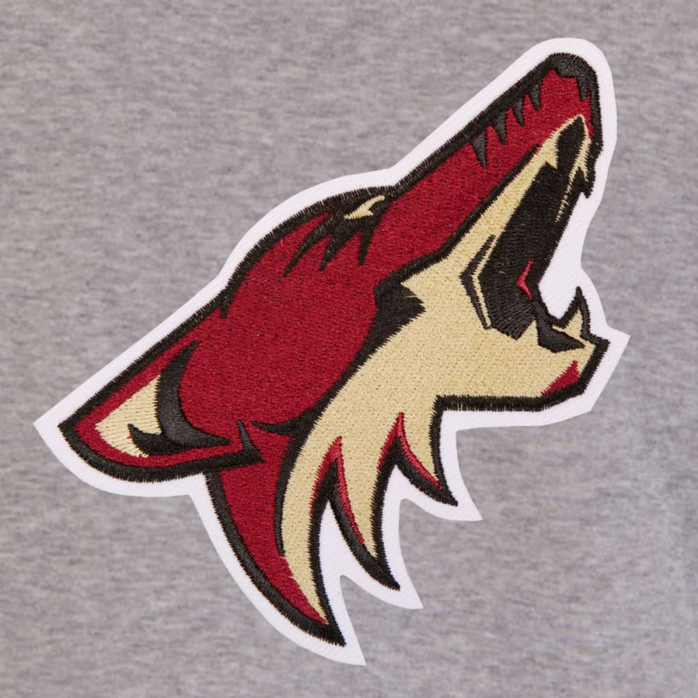 JH DESIGN Men's NHL Arizona Coyotes Reversible Fleece Hooded Jacket - GREY BLACK