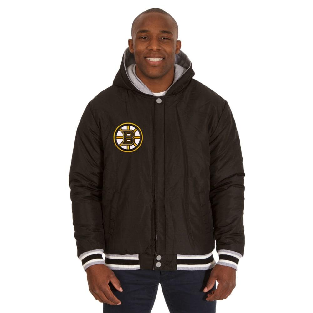 JH DESIGN Men's NHL Boston Bruins Reversible Fleece Hooded Jacket - GREY BLACK