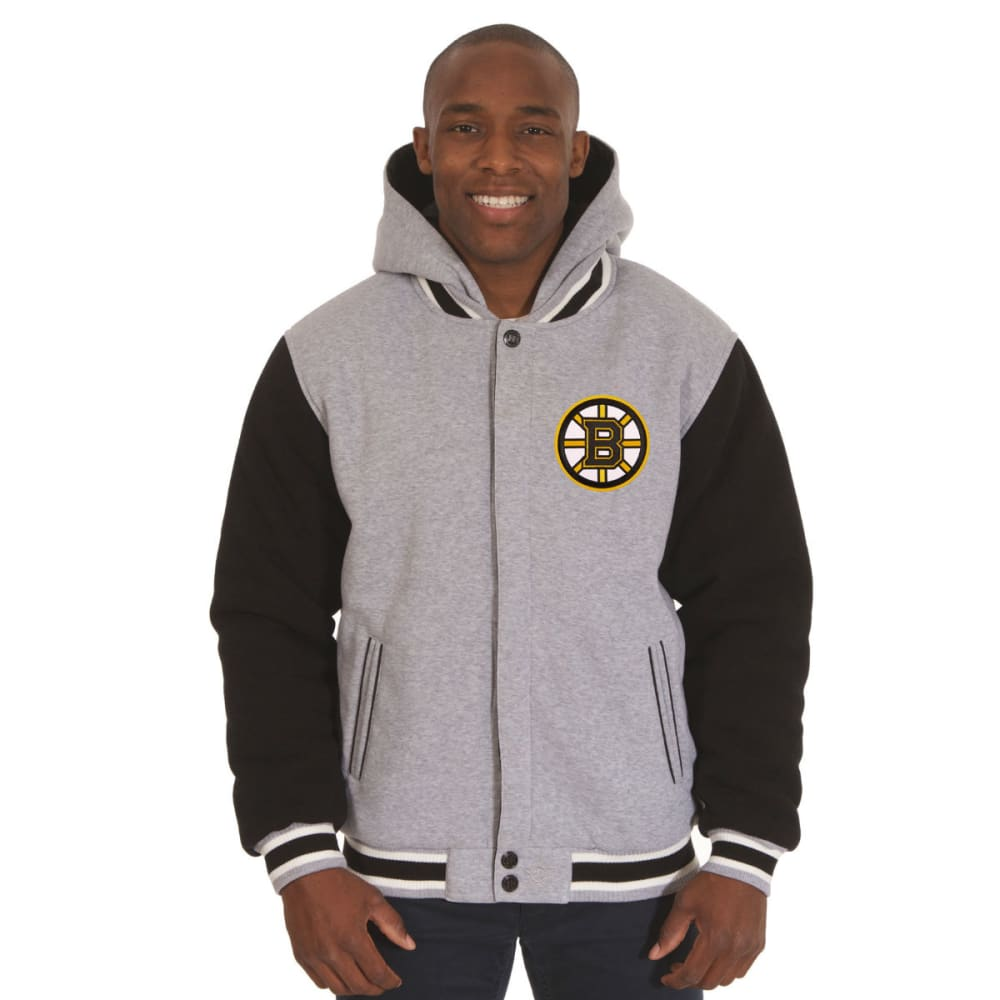 JH DESIGN Men's NHL Boston Bruins Reversible Fleece Hooded Jacket - GREY BLACK