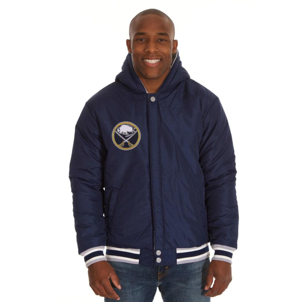JH DESIGN Men's NHL Buffalo Sabres Reversible Fleece Hooded Jacket - GREY NAVY