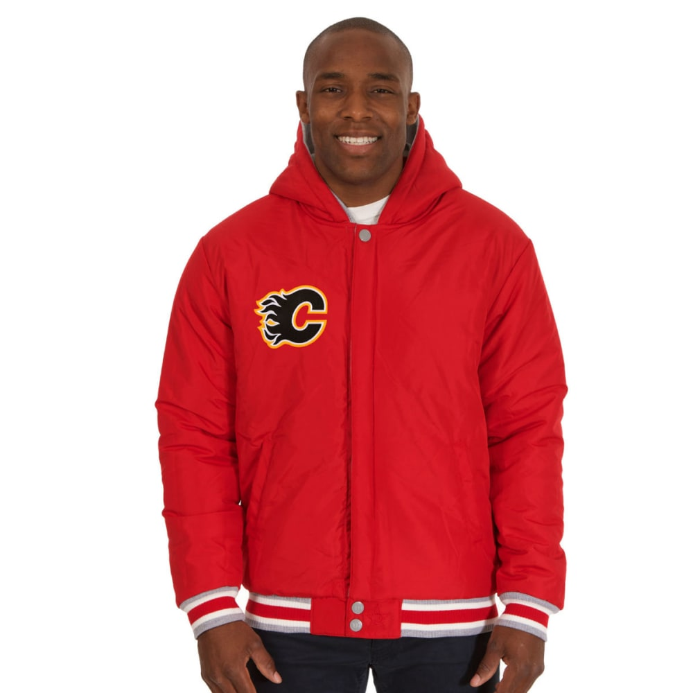 JH DESIGN Men's NHL Calgary Flames Reversible Fleece Hooded Jacket - GREY RED