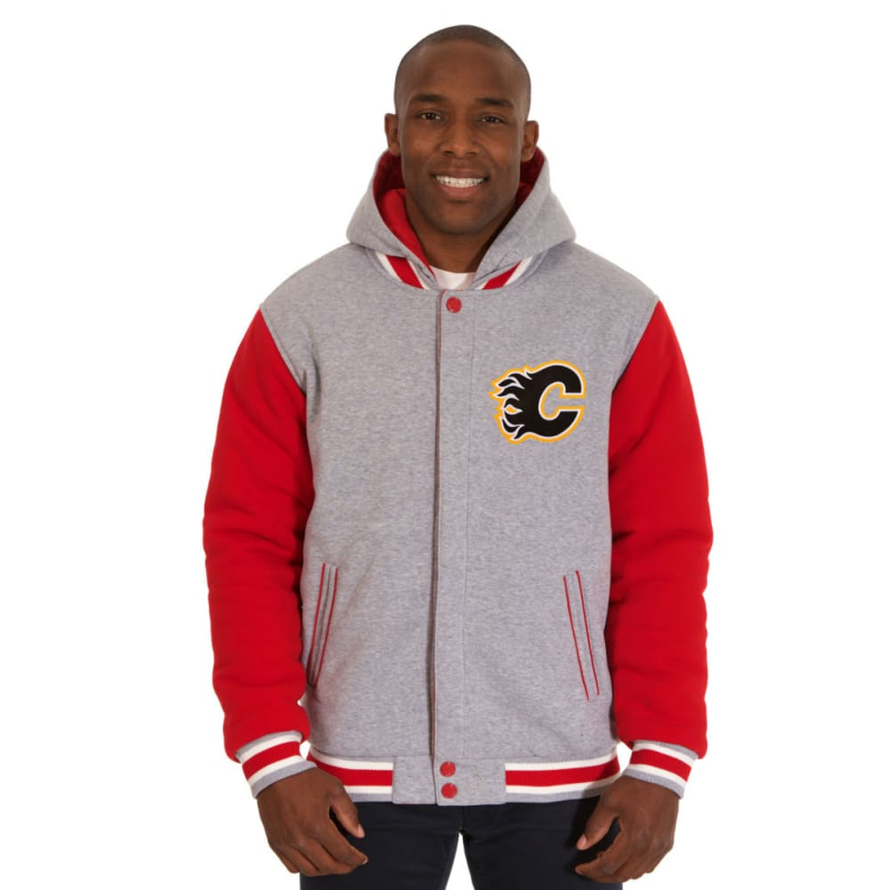 JH DESIGN Men's NHL Calgary Flames Reversible Fleece Hooded Jacket - GREY RED