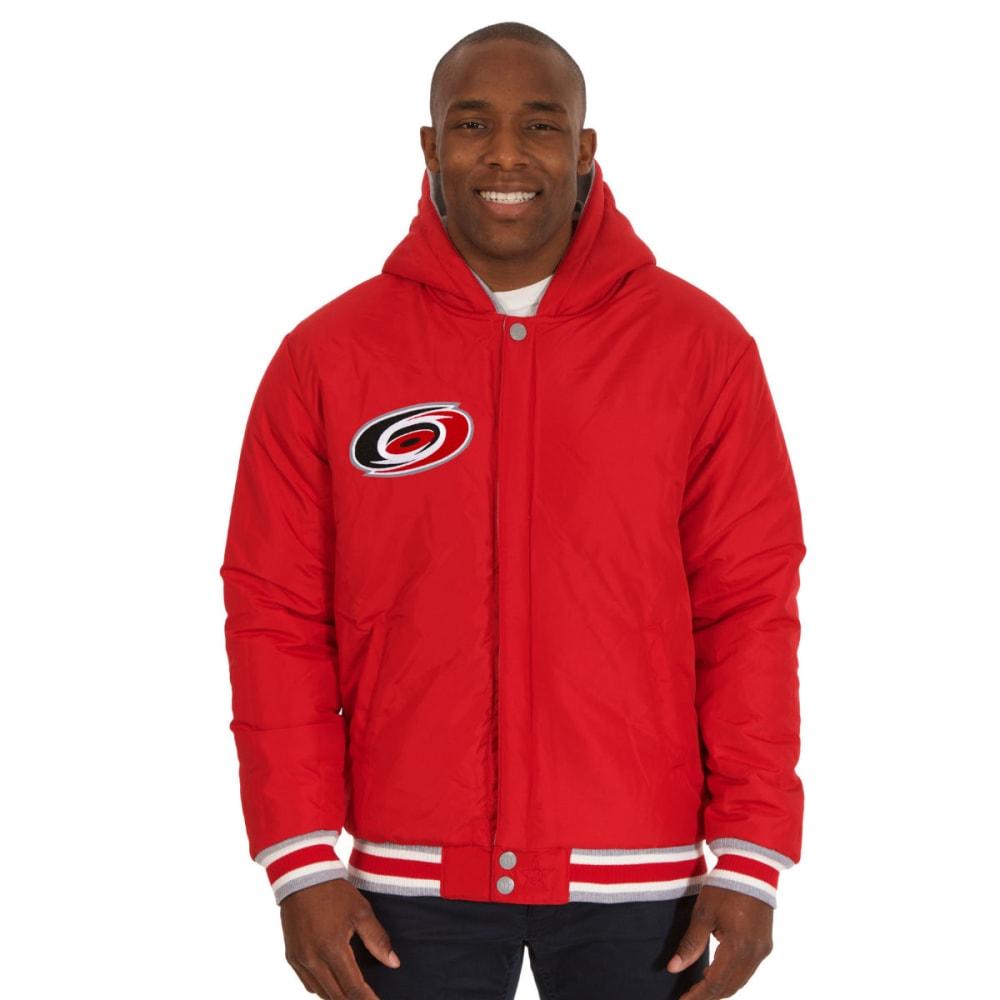JH DESIGN Men's NHL Carolina Hurricanes Reversible Fleece Hooded Jacket - GREY RED