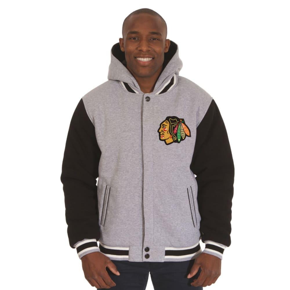 JH DESIGN Men's NHL Chicago Blackhawks Reversible Fleece Hooded Jacket - GREY BLACK
