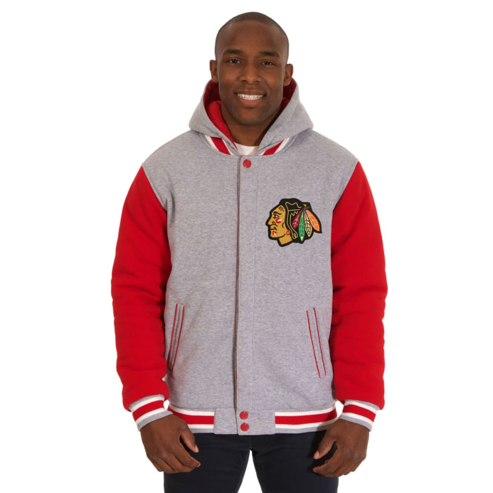 JH DESIGN Men's NHL Chicago Blackhawks Reversible Fleece Hooded Jacket S