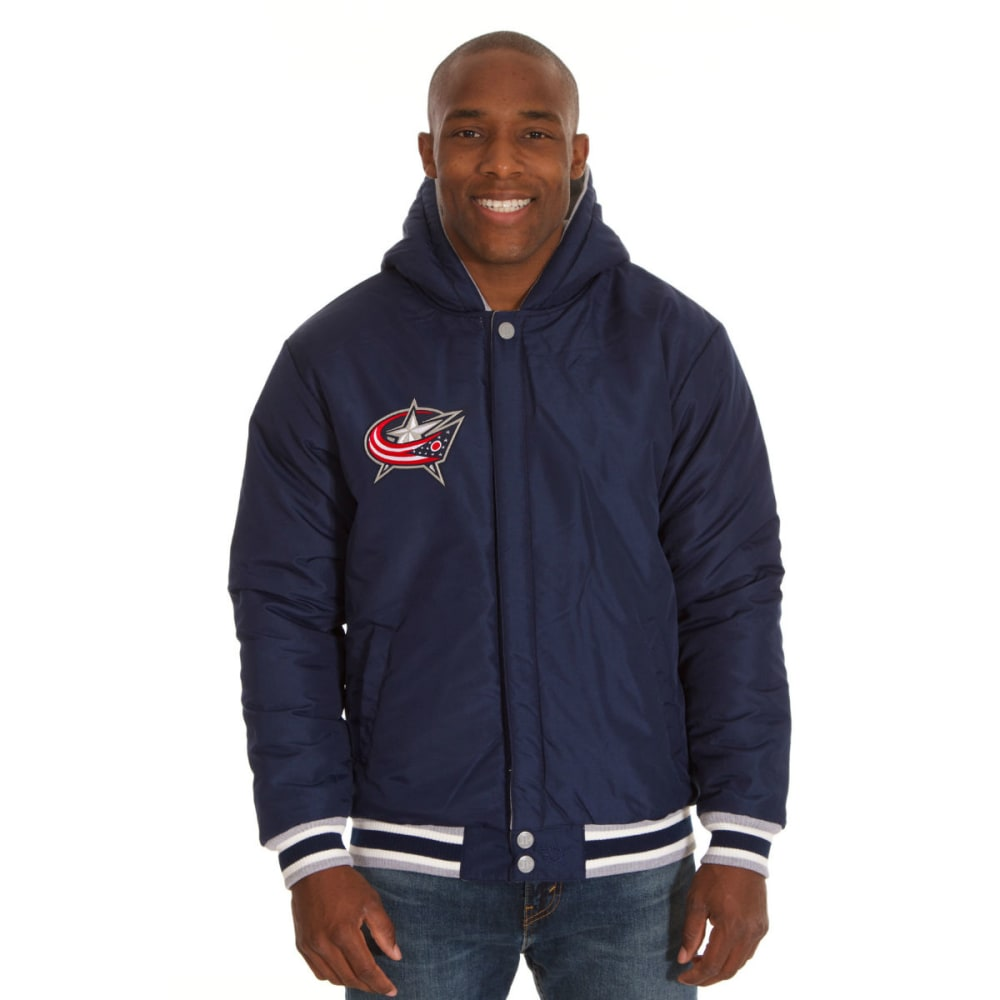 JH DESIGN Men's NHL Columbus Blue Jackets Reversible Fleece Hooded Jacket - GREY NAVY