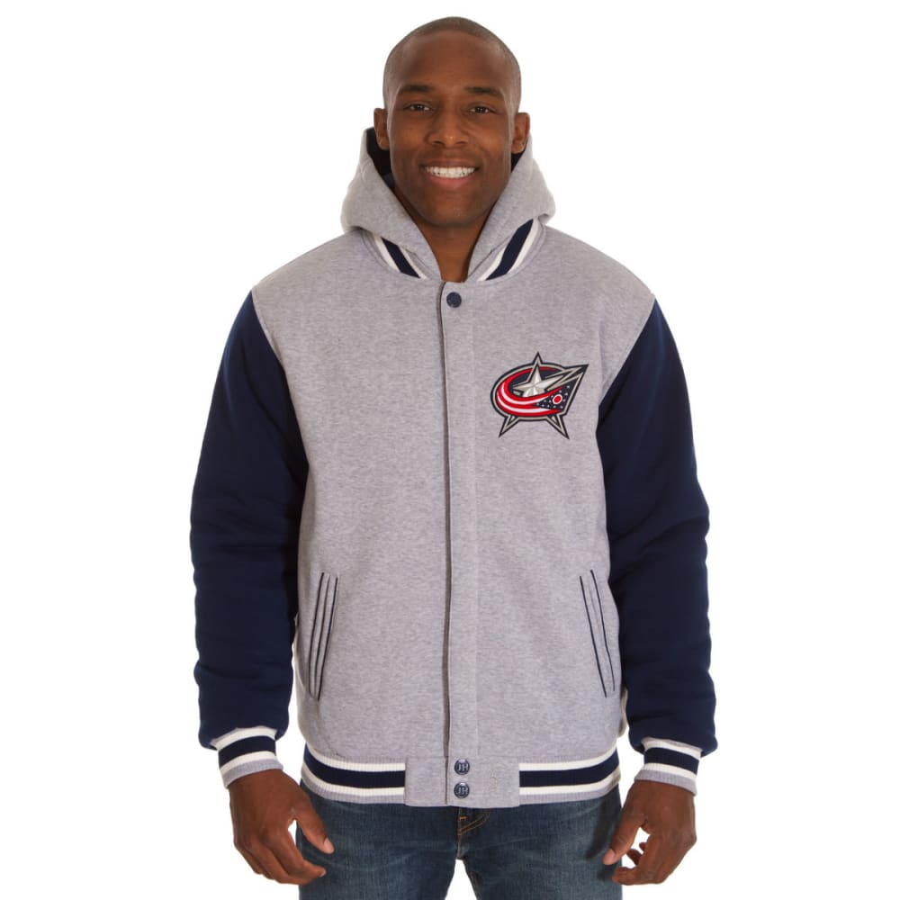 JH DESIGN Men's NHL Columbus Blue Jackets Reversible Fleece Hooded Jacket - GREY NAVY