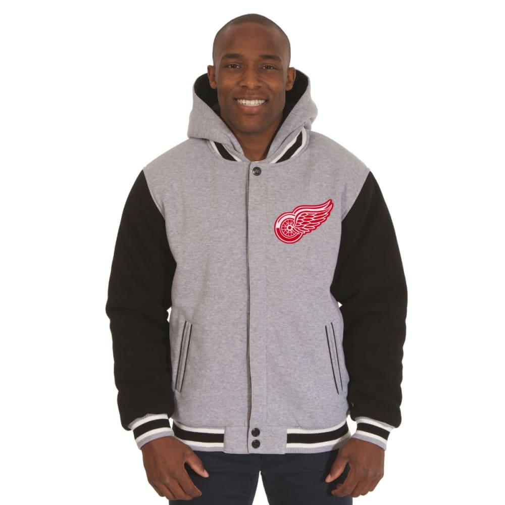 JH DESIGN Men's NHL Detroit Red Wings Reversible Fleece Hooded Jacket - GREY BLACK