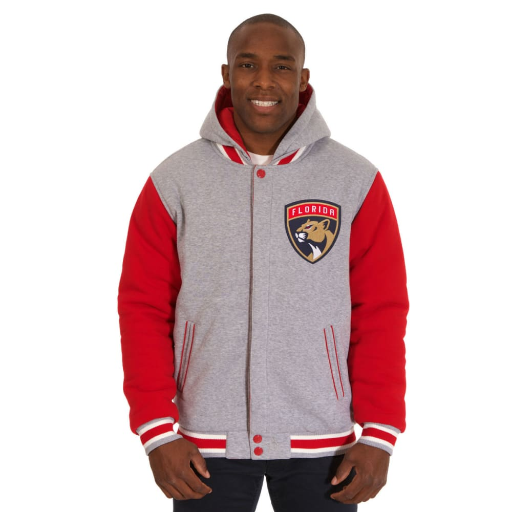 JH DESIGN Men's NHL Florida Panthers Reversible Fleece Hooded Jacket S