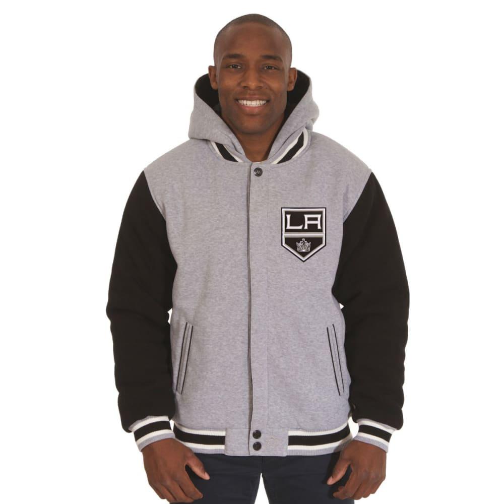 JH DESIGN Men's NHL Los Angeles Kings Reversible Fleece Hooded Jacket - GREY BLACK