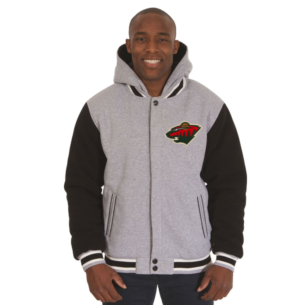 JH DESIGN Men's NHL Minnesota Wild Reversible Fleece Hooded Jacket - GREY BLACK