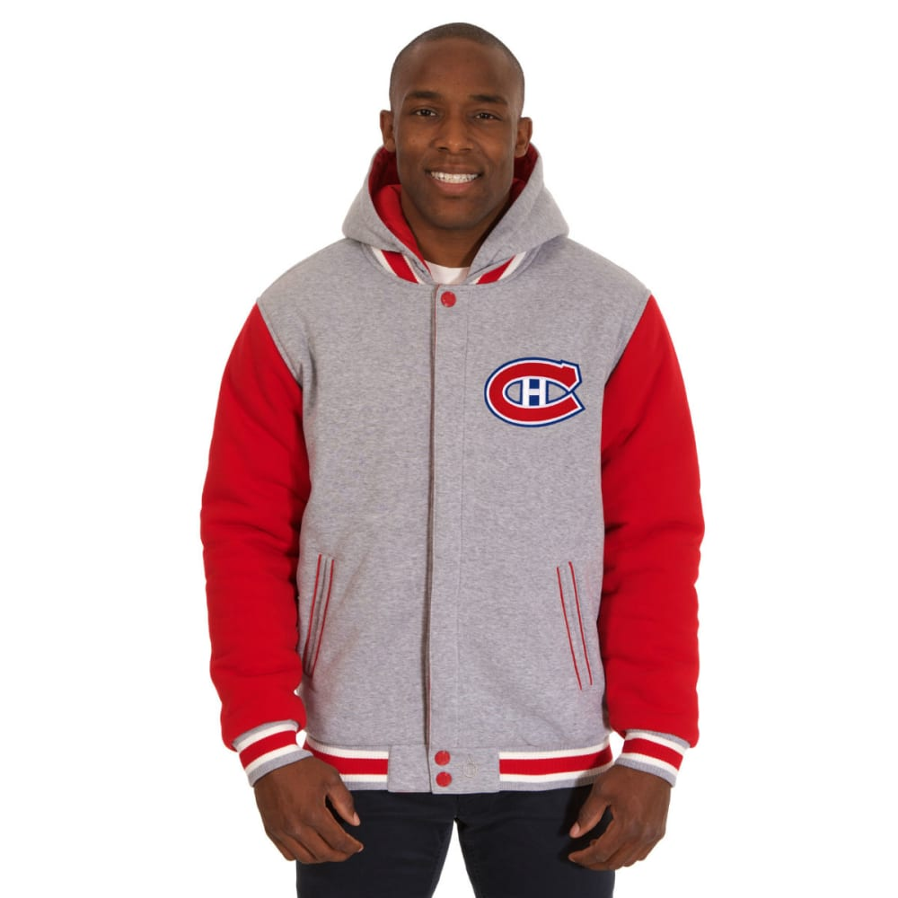 JH DESIGN Men's NHL  Montreal Canadiens Reversible Fleece Hooded Jacket - GREY RED
