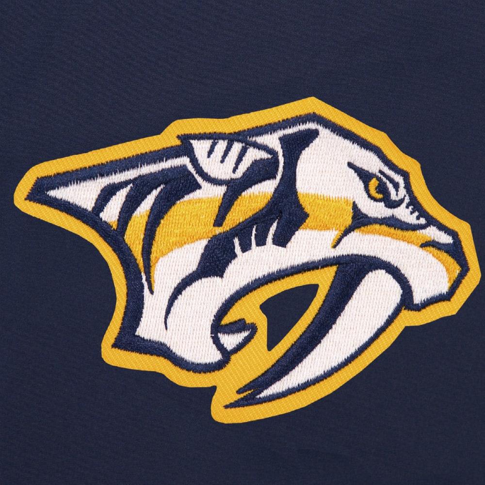 JH DESIGN Men's NHL Nashville Predators Reversible Fleece Hooded Jacket - GREY NAVY
