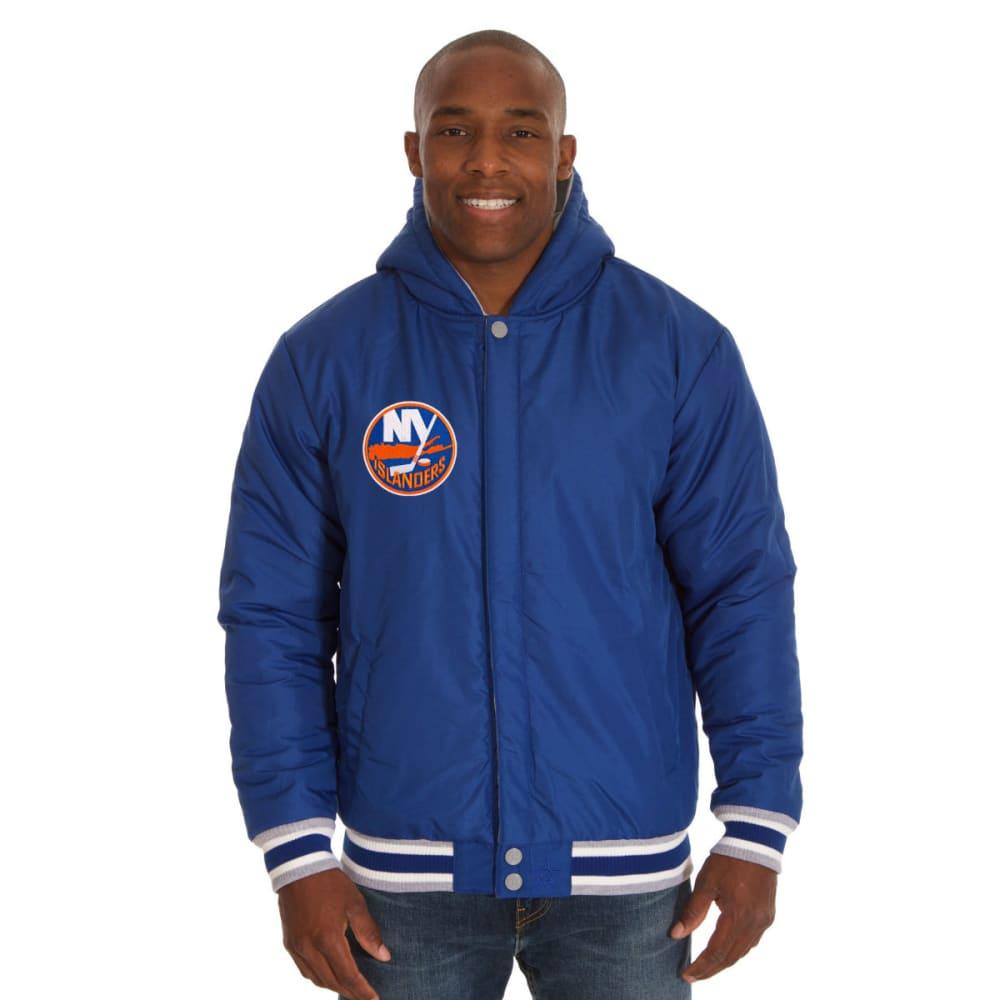 JH DESIGN Men's NHL New York Islanders Reversible Fleece Hooded Jacket - GREY ROYAL