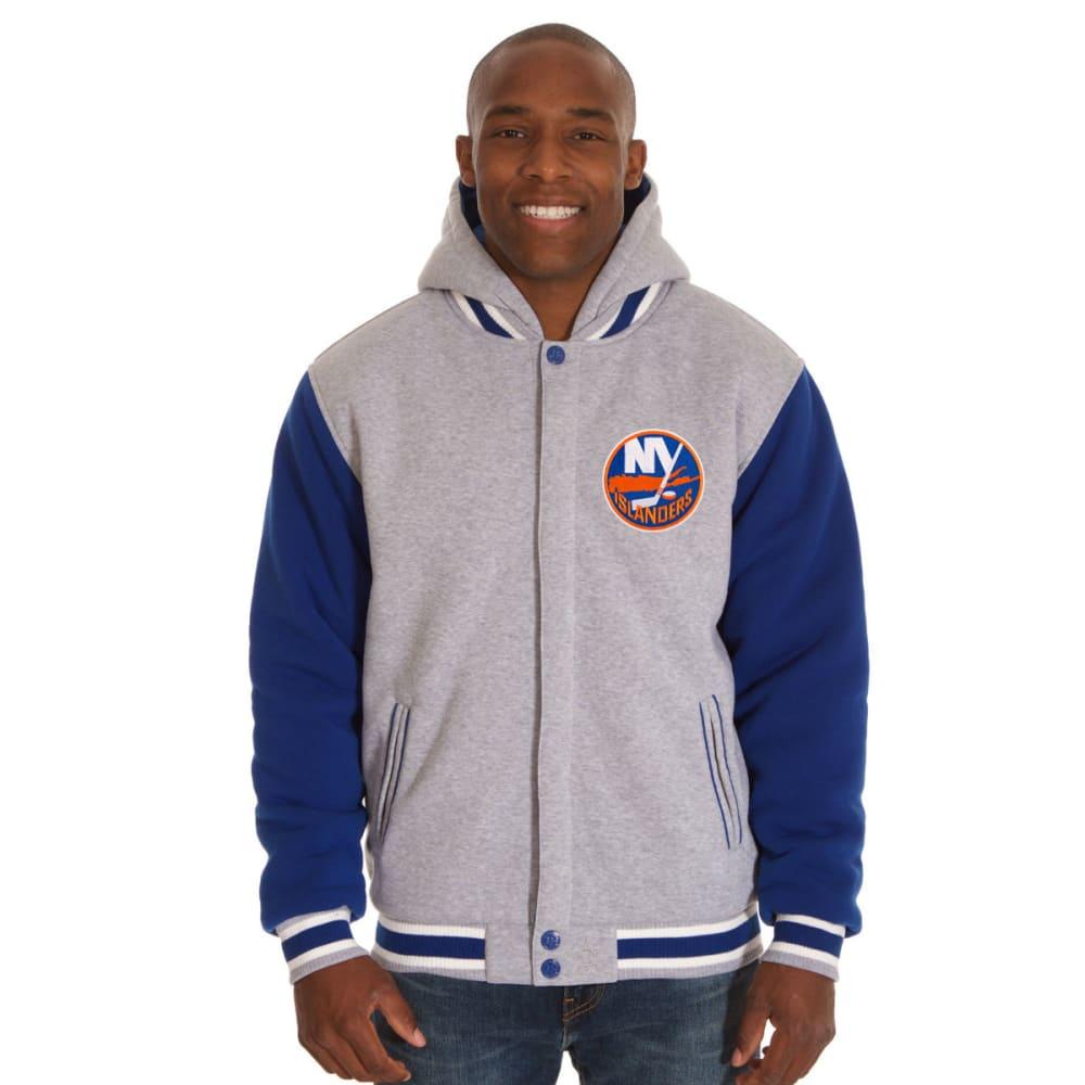 JH DESIGN Men's NHL New York Islanders Reversible Fleece Hooded Jacket S