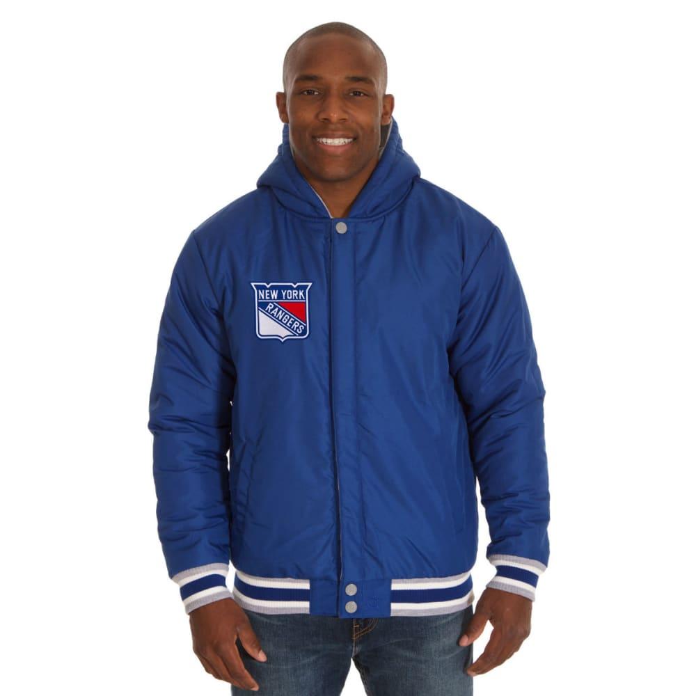 JH DESIGN Men's NHL New York Rangers Reversible Fleece Hooded Jacket - GREY ROYAL
