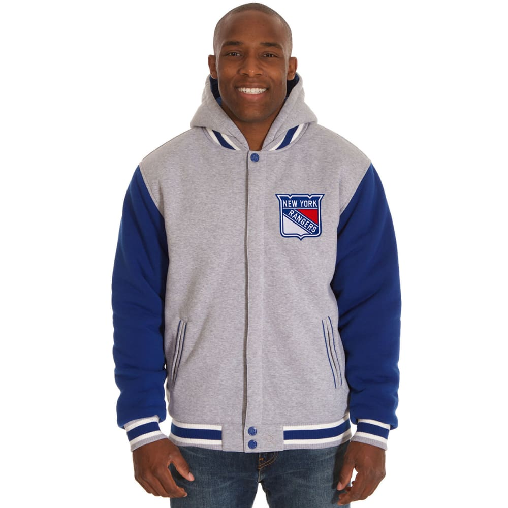 JH DESIGN Men's NHL New York Rangers Reversible Fleece Hooded Jacket - GREY ROYAL