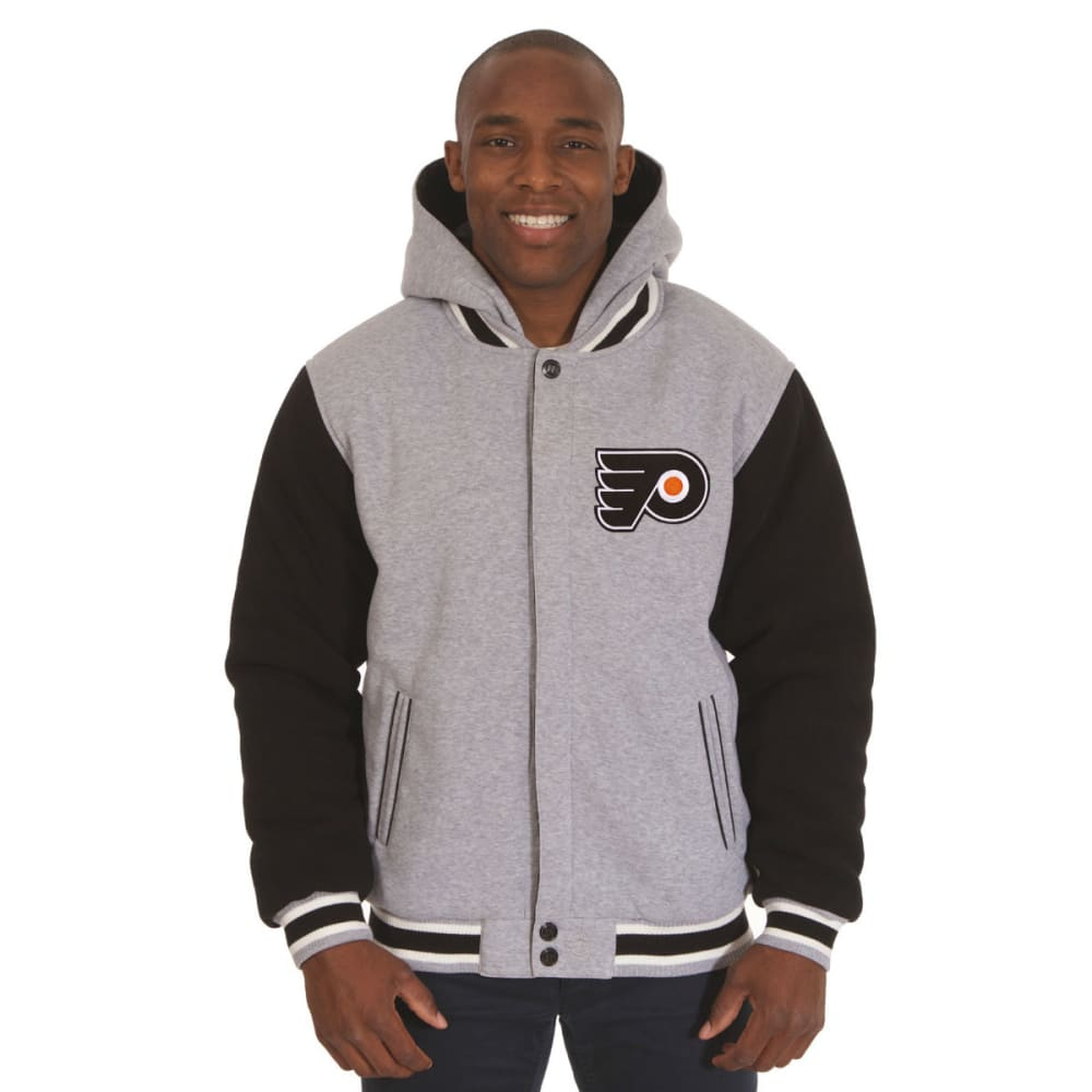 JH DESIGN Men's NHL Philadelphia Flyers Reversible Fleece Hooded Jacket - GREY BLACK