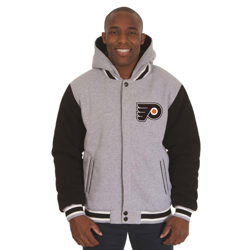 JH DESIGN Men's NHL Philadelphia Flyers Reversible Fleece Hooded Jacket - GREY BLACK