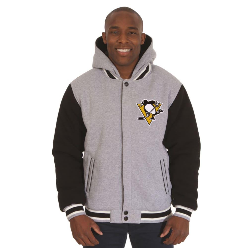 JH DESIGN Men's NHL Pittsburgh Penguins Reversible Fleece Hooded Jacket - GREY BLACK