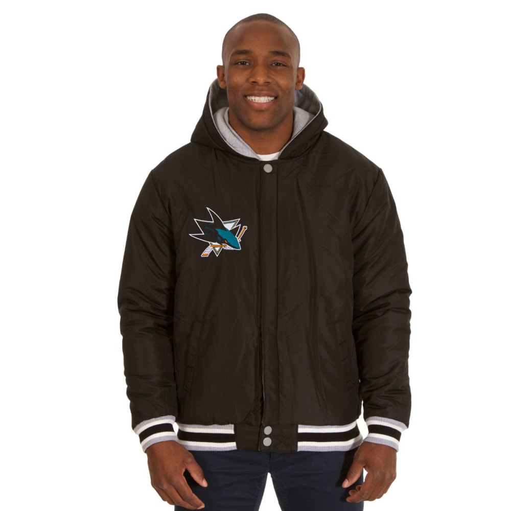 JH DESIGN Men's NHL San Jose Sharks Reversible Fleece Hooded Jacket - GREY BLACK