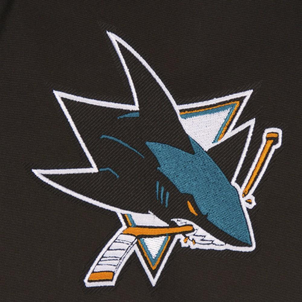 JH DESIGN Men's NHL San Jose Sharks Reversible Fleece Hooded Jacket - GREY BLACK