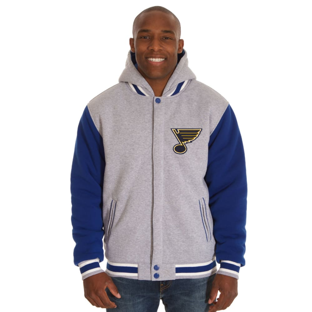 JH DESIGN Men's NHL St. Louis Blues Reversible Fleece Hooded Jacket S