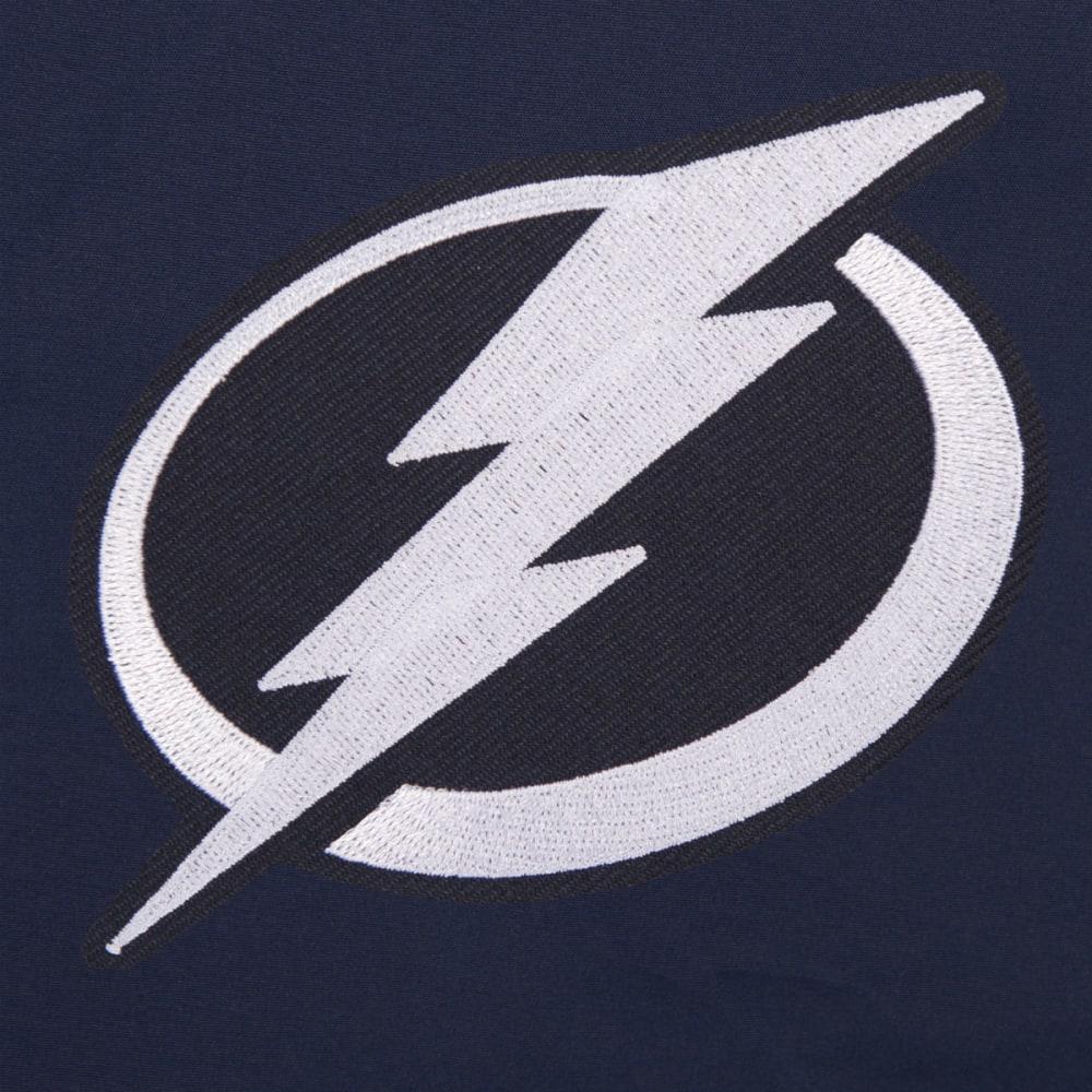 JH DESIGN Men's NHL Tampa Bay Lightning Reversible Fleece Hooded Jacket - GREY NAVY