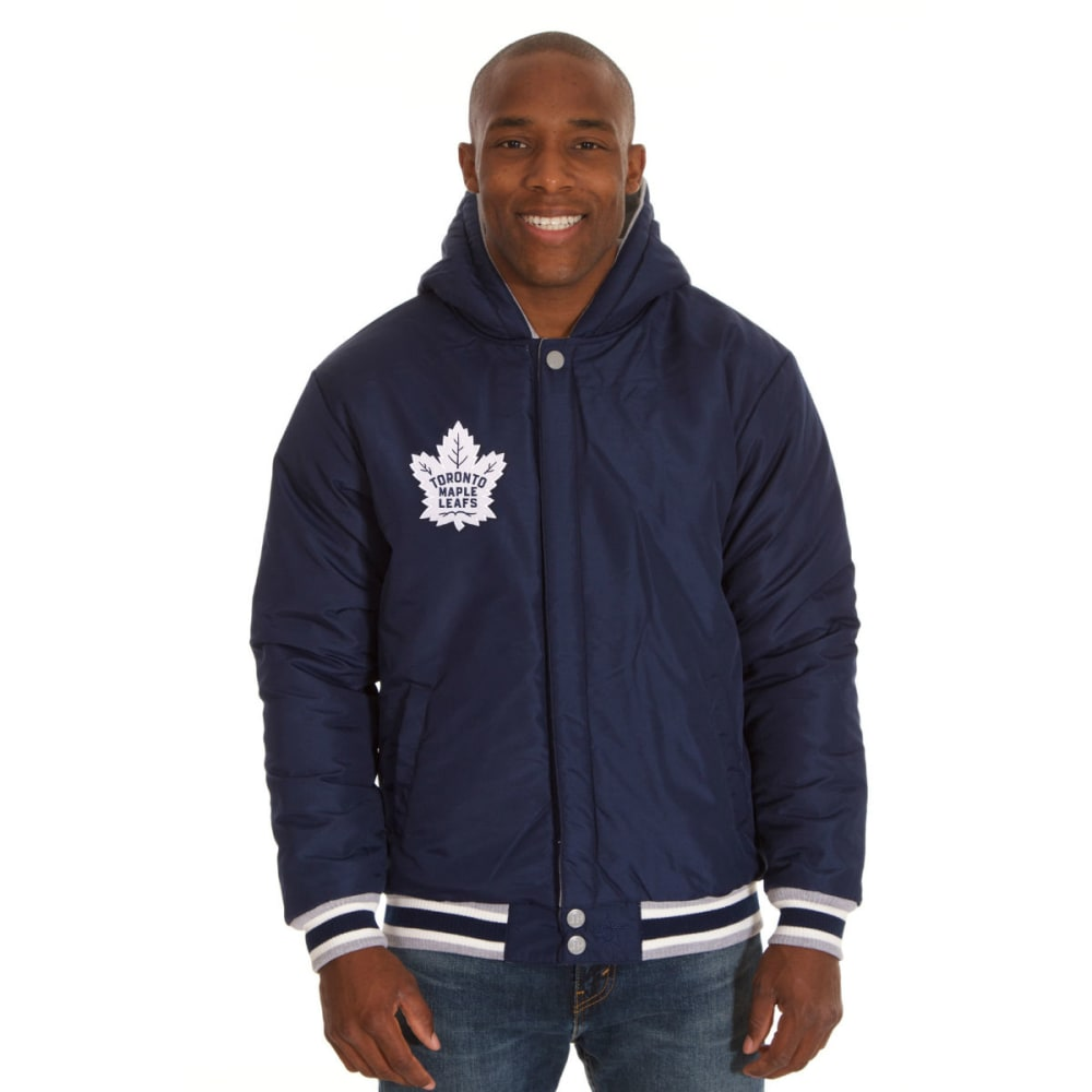 JH DESIGN Men's NHL Toronto Maple Leafs Reversible Fleece Hooded Jacket - GREY NAVY