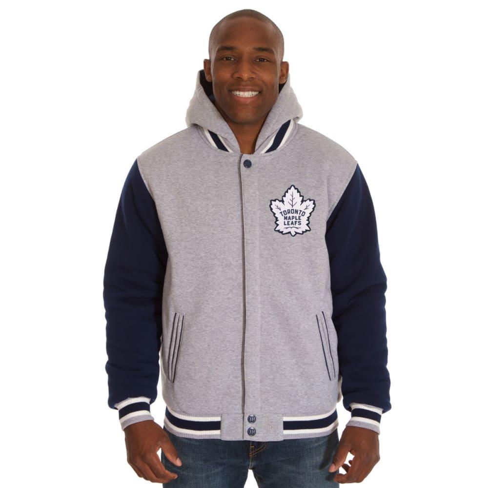 JH DESIGN Men's NHL Toronto Maple Leafs Reversible Fleece Hooded Jacket - GREY NAVY