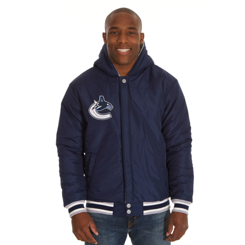 JH DESIGN Men's NHL Vancouver Canucks Reversible Fleece Hooded Jacket - GREY NAVY
